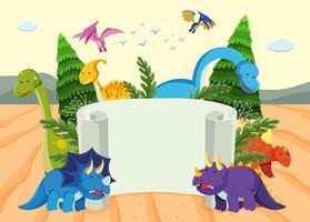 Eine Dinosaurier-Banner-Vorlage vektor