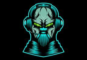 Monster Streaming Kopfhörer-Vektor-Illustration vektor