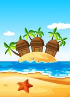 Drei Hütten auf der Insel