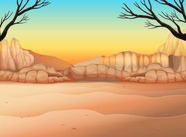 Naturscen med fält och kanjon