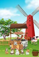 In der Farm lebende Nutztiere