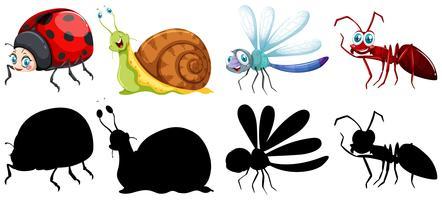 Uppsättning av insekt karaktär