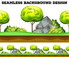 Sömlös bakgrundsdesign med träd och gräsmatta