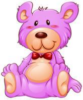 Ein rosa Teddybär betreffen weißen Hintergrund vektor