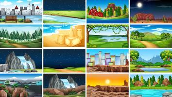 Uppsättning av olika landskap