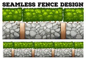 Sömlös staketdesign med träd och stenar