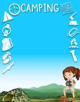 Gränsdesign med flickor och campingverktyg vektor