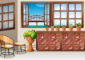 Zimmer mit Meerblick vom Fenster