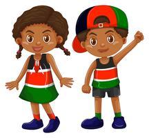 Flicka och pojke från Kenya vektor