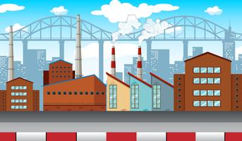 Stadsscen med fabriker och byggnader