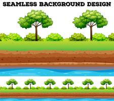 Grönt fält med träd och buske