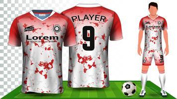 Fotbollströja, sportskjorta eller fotbollssats enhetlig presentationsmall.