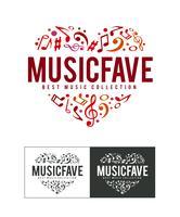 musik fave logotyp vektor