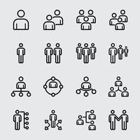Business-Team und Liniensymbol zu organisieren