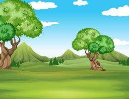 Naturscen med fält och träd