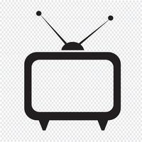 Tv-ikonsymboltecken vektor