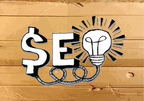 Seo Idea SEO Search Engine Optimization auf Pappbeschaffenheitsillustration
