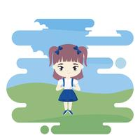 süße kleine Studentin in Landschaftsszene