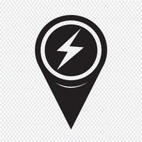 Kartenzeiger Blitzsymbol vektor