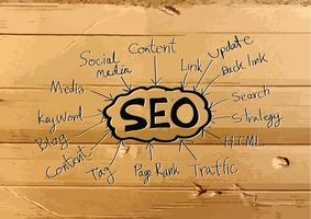 Seo Idea SEO Search Engine Optimization auf Pappbeschaffenheitsillustration vektor