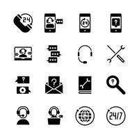 Call center och support icon set. Vektorillustration