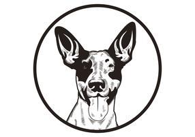 Hundevektorkopf-Vektorillustrations-Weinleseklassiker vektor