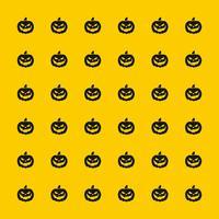 schwarzes furchtsames Kürbismuster auf gelbem Hintergrund für Halloween