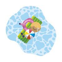sommarflödesdyna med ballong och hatt som svävar i poolen