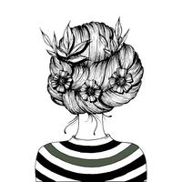 Frisur mit Blumen.