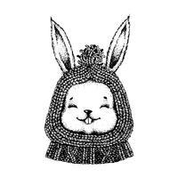Schwarzweiss-Hase in einem Hut und in einer Strickjacke.