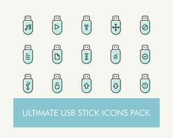 Ultimate enkel USB- eller Flash Drive eller USB Drive Icons Pack