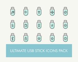 Ultimatives einfaches USB- oder Flash-Laufwerk- oder USB-Laufwerk-Icons-Pack
