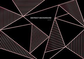 Abstraktes Luxusrosagoldpolygonales Muster auf schwarzem Hintergrund. Schöne Vorlage mit Roségold geometrischen und Zeilendekoration.