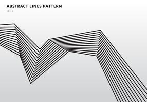 Abstrakter schwarzer Streifen zeichnet grafische optische Kunst auf weißem Hintergrund