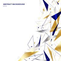Abstrakte polygonale geometrische Dreieckformen und -linien Gold, Silber, blaue Farbe auf weißem Hintergrund mit Kopienraum. Luxus-Stil
