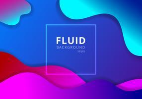 Abstrakt flytande vågig geometrisk dynamisk 3D färgrik bakgrund. Trendigt lutningsfluidum formar modernt koncept. vektor
