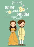 Niedliche indische Braut- und Bräutigampaare für Hochzeitseinladungskarte. vektor