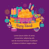 Glad diwali. Ljusfestival, gratulationskort. Diwali färgglada affischer med huvudsymboler. Deepavali ljus- och eldfestival. Indisk deepavali hinduisk ljusfestival. Vektorillustration. vektor