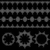 Gränser och runda ramar ställer in samling i kalligrafisk retro stil isolerad på svart bakgrund.
