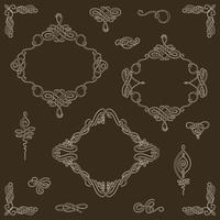 Ställ in samling av kalligrafiska element och vektordekorationer. vektor