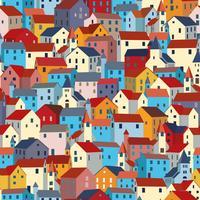 Seamless mönster med ljusa färgglada hus. Stads- eller stadsstruktur.