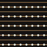 Seamless mönster av guldkedjelinjer på svart bakgrund. Vektorillustration