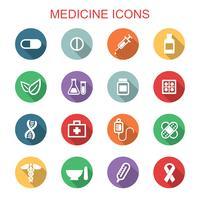 medicin långa skugga ikoner vektor
