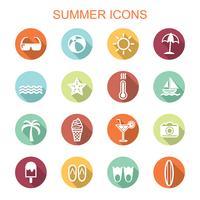 sommar långa skugga ikoner vektor