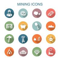 Bergbau lange Schatten Symbole