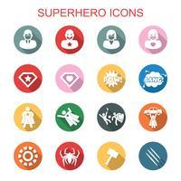 superhjälte långa skugga ikoner vektor