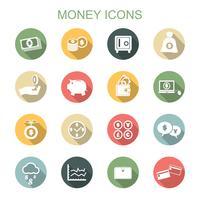 pengar långa skugga ikoner vektor