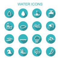 vatten långa skugga ikoner vektor