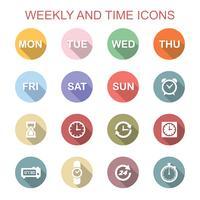 vecko och tid långa skugga ikoner vektor