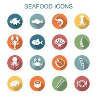 skaldjur långa skugga ikoner